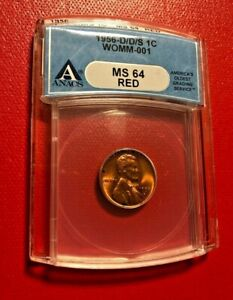 1957 D/D/S ONE CENT WOMM-001 ANACS MS 64 RED