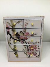 1:12th dolls house miniature hand painted shabby chic birds chest of drawers