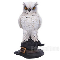 SOREN WHITE HORNED OWL GUARDIAN WITCHES SPELL MAGIC HAT FIGURINE ORNAMENT 15CM