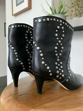 Isabel Marant Studded Leather Western Boots 38