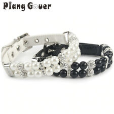 Luxury dog Collar faux leather with faux pearls and rhinestones collars for dogs