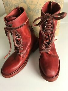 FREE PEOPLE RED SANTA FE LEATHER BOOTS (UK 4/ EUR 37) RRP £168