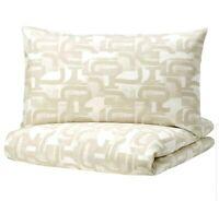 IKEA Vinterjasmin Duvet Cover & 2 Pillowcases White Beige Queen 004.428.33 New