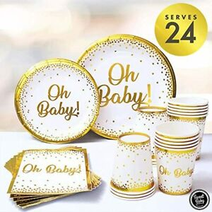 Sweet Baby Co. Oh Baby Shower Plates and Napkins Neutral for Boy or Girl with Wh