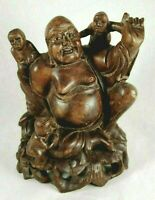 """Wood Vintage Buddha with Three Children 6.5"""" Statue Happy Laughing Hand Carved"""