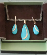 NEW Solid 14K Yellow Gold Turquoise Pendant and Earrings Set