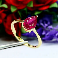 NATURAL 7 X 9 mm. PEAR RED RUBY RING 925 STERLING SILVER SZ 9.25