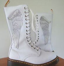 Dr Doc Martens Smooth White CHERUB Angel Wing Combat Boots  Size UK 4 / US 6 HTF