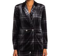Laundry By Shelli Segal Womens Size 10 Plaid Velvet Blazer Jacket Black Gray