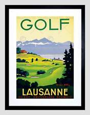 TRAVEL SPORT GOLF LAUSANNE SWITZERLAND GREEN FAIRWAY ALPS FRAMED PRINT B12X10234