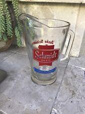 Vintage Glass Schmidt Beer Pitcher