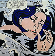"Roy Lichtenstein  Large vintage  Canvas  24""  art print painting drowning woman"