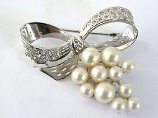 Vintage Sterling Silver Crystal Rhinestone Pearl Grape Bow Brooch Pin 92.5