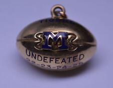 ANTIQUE 1920s 10K YELLOW GOLD 3-D FOOTBALL TIGERS ENAMEL M WATCH FOB CHARM
