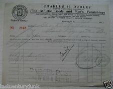 Billhead~Charles Dudley Fine Athetic Goods & Mens Furnishings 1913