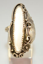 """VTG SOUTHWESTERN STERLING SILVER 1.5"""" LONG MOTHER OF PEARL MOP RING SIZE 6.5"""