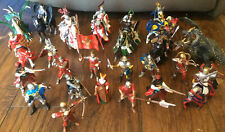 LOT OF SCHLEICH PAPO MEDIEVAL FANTASY FIGURES KNIGHTS & 8 HORSES 1998-2004