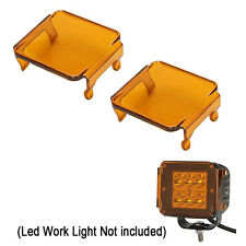 """2x Amber LED Work Light Off Road Lens Cover for 3x3""""INCH 16W 24W Square Cube pod"""