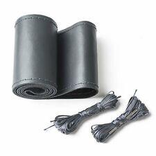 Car Genuine Leather 37-38cm Diameter Dark Grey DIY Steering Wheel Cover Needle