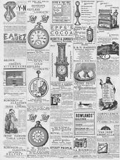 Victorian Adverts; Candles, Corsets, Barometers, Kitchens - - Antique Print 1887