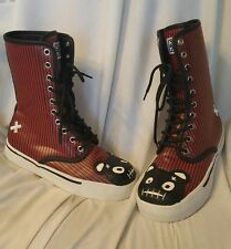 TUK women's shoes sz 7 US sneaker boots red and black striped teddy bear Goth