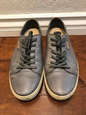 Ecco Mens Shoes Sneakers Grey Leather Size 45 Eu 11.5 US