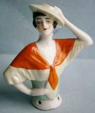 Lady with Hat and Scarf Pin Cushion Half Doll made in Germany, early 1900's