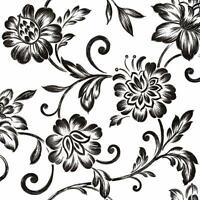 Wallpaper Graceful Trail Contemporary Jacobean Floral Black Silver on White