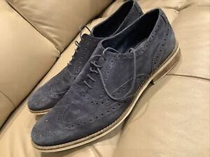 Ask The Missus Blue Suede Brogue Shoe, 46, UK12 REDUCED
