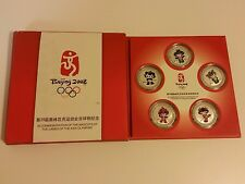 Limited Edition 2008 Beijing Olympics Mascot Coin Set Silver Plated Bronze Box