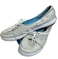 Keds Women's Canvas Boat Shoes Silver Size 7.5 Metalic Glimmer Top Siders