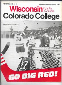 November 4-5 1977 WISCONSIN vs COLORADO College Hockey Program (JS)