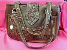 New Montana West Tooled Leather Western Handbag, Dark Brown/Coffee