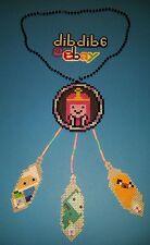 Adventure time dream catcher kandi perler necklace, rave, EDC, PLUR sprite art