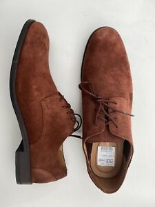 BN Clarks Flow Plain All Leather Suede Lace Up Shoes British Tan UK 9.5 EUR 44