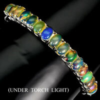 Unheated Oval Fire Opal Rainbow Full Flash 7x5mm 925 Sterling Silver Bangle