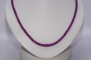 $900 63.00CT NATURAL RONDELLE CUT PINK SAPPHIRE SLIGHTLY GRADUATED NECKLACE .925