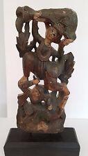 Vtg.Traditional Asian Ceremonial Dancers, Hand-Carved Wood Sculpture