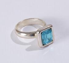 Tendencia modernas anillo plata rhodiniert chopera acrílico pedrería Aquamarine azul