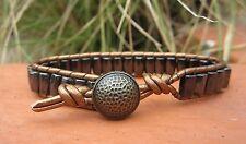 Great Gift Men's Golf Sports Bracelet Bronze Leather Black Magnetic