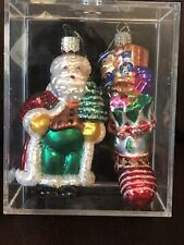 2 Designers Studio Handcrafted Glass Christmas Ornaments Santa And Stocking
