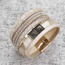 Women's Multilayer Genuine Leather Rhinestone Statement Wrap Bracelet Bangle