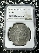 1897-Zs FZ Mexico 8 Reales NGC MS62 Lot#G239 Silver! Nice UNC!