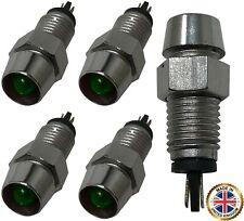 5 Pack of Universal 12V Green LED Lamp Dash Panel Pilot Indicator Light - Chrome