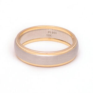 5.5mm Plain 950 Platinum Men's Wedding Band 18K Rose Gold Mens Ring Size S T U.