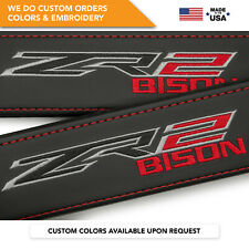 Seat Belt Covers Leather Shoulder Pads Embroidery Chevrolet Colorado ZR2 Bison