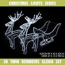 3D LED Christmas Motif Sleigh & Twin Reindeers Set 160cm Cool White Outdoor