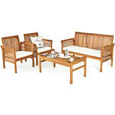 4 PCS Outdoor Acacia Wood Sofa Furniture Set Cushioned Chair Coffee Table Garden