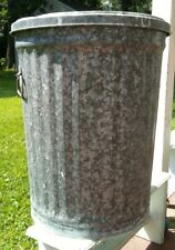 """Vintage 24"""" Tall Galvanized Metal Trash Can with Lid"""