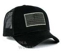 USA American Flag Hat Foam Mesh Trucker Snapback Embroidered Baseball Cap- Black